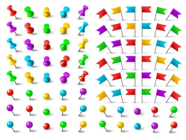 Colori puntina, bandiera appuntata per la navigazione e puntina a distanza.