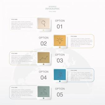 Colori quadrati infografica con 5 passaggi.