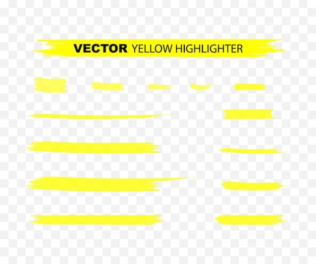 Colpi marcatore evidenziatore giallo. set di evidenziazione disegnata a mano dell'acquerello giallo.