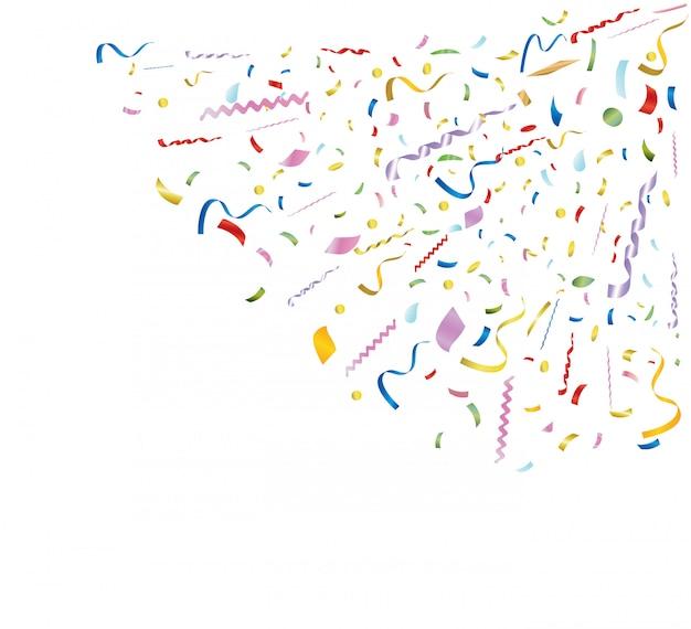 Colpo di coriandoli multicolore. modello per biglietto di auguri, flyer, banner, invito, congratulazioni