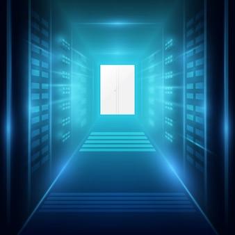 Colpo di corridoio nel centro dati di lavoro pieno di server rack e supercomputer