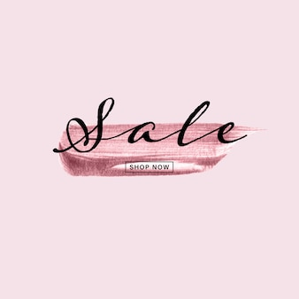 Colpo di pennello dipinto a mano oro rosa con testo di vendita su sfondo rosa.