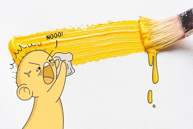 Colpo di pennello giallo e illustrazione divertente personaggio arrabbiato