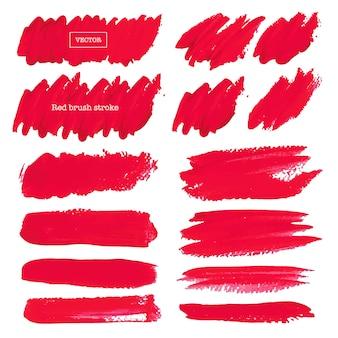 Colpo rosso della spazzola isolato su fondo bianco, illustrazione di vettore.