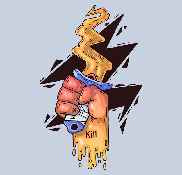 Coltello curvo in mano. illustrazione di cartone animato personaggio in stile grafico moderno.