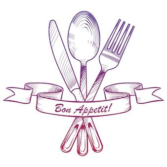 Coltello disegnato a mano, forchetta, cucchiaio e nastro vintage