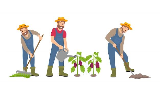 Coltivando l'uomo sull'illustrazione di vettore messa icone dell'azienda agricola