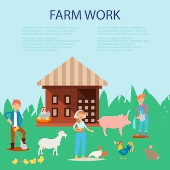 Coltivatore che lavora in fattoria, prendersi cura di maiale, capra, polli modello di presentazione