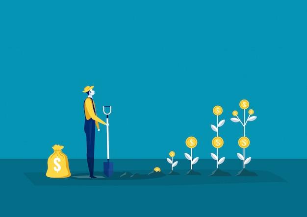 Coltivatore che pianta un albero dei soldi e che seleziona i dollari