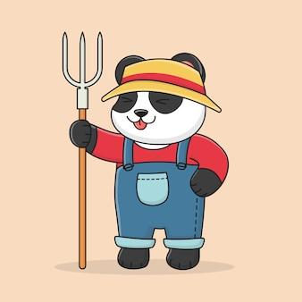Coltivatore di panda carino che indossa un cappello