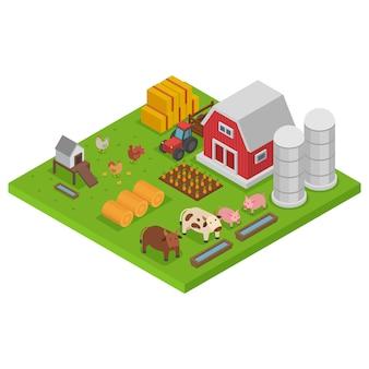 Coltivi con animali, isometria colorata, concetto di agricoltura isometrica, habitat naturale, design, illustrazione di stile del fumetto.