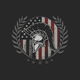 Combattente coraggioso di simbolo dell'emblema del casco di sparta di lerciume della bandiera americana