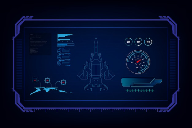 Combattente jet futuristico con interfaccia grafica gui