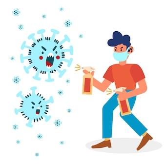 Combatti il concetto di illustrazione del virus