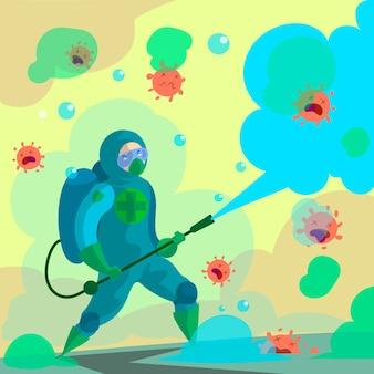 Combatti il disegno dell'illustrazione del virus
