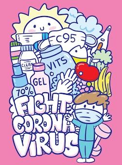 Combatti l'arte del doodle del virus corona