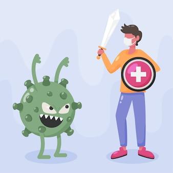 Combatti l'illustrazione del virus