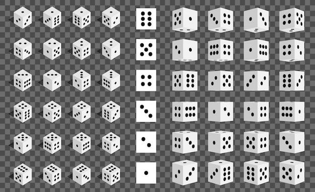 Combinazione di dadi di gioco isometrica 3d, cubo.