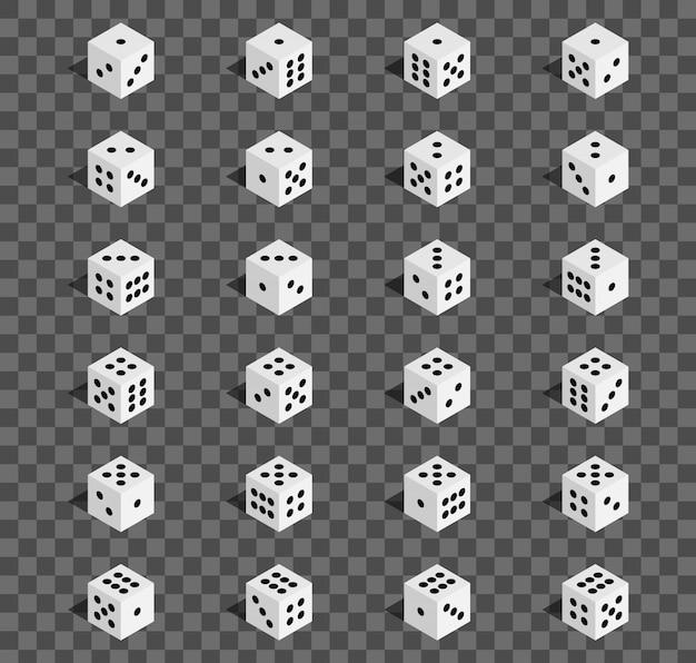 Combinazione di dadi gioco d'azzardo isometrica 3d, cubo.