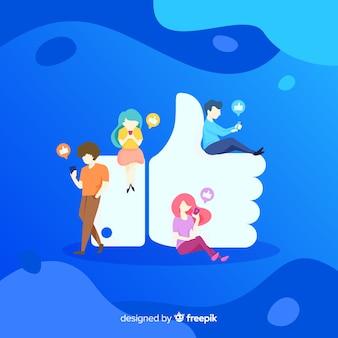 Come facebook. adolescenti sui social media. design del personaggio.