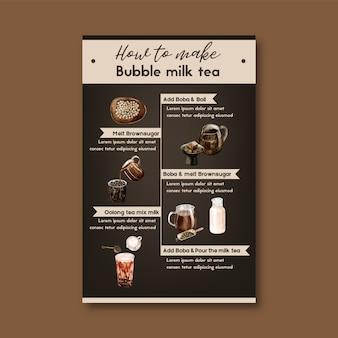 Come fare il tè al latte con bolle fatto in casa, contenuto dell'annuncio moderno, illustrazione dell'acquerello