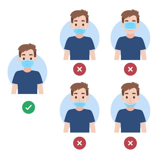 Come indossare la maschera per il viso nel modo giusto e sbagliato, le persone che indossano una maschera chirurgica per prevenire il virus della corona