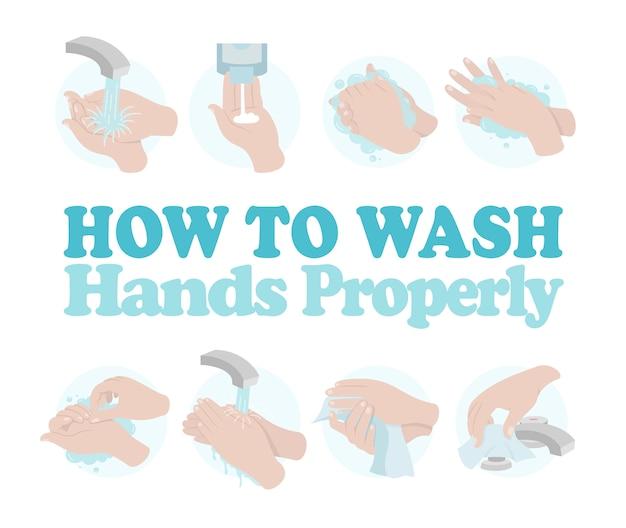 Come lavarsi le mani correttamente. illustrazione