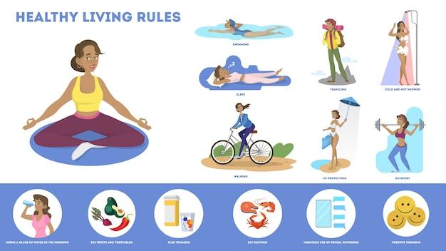 Come ottenere consigli per uno stile di vita sano e in forma. cibo fresco, sport e sonno come routine quotidiana. esercizio sportivo fitness. illustrazione vettoriale piatto isolato