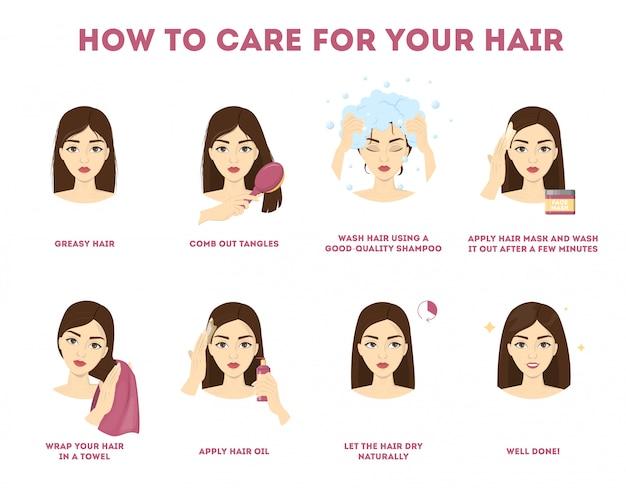 Come prendersi cura delle tue istruzioni sui capelli. procedura di trattamento dei capelli. asciugare con un asciugamano, usare olio e maschera per la salute. illustrazione