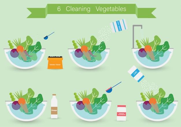 Come pulire le verdure per cucinare. pulizia delle verdure in design piatto. illustrazione vettoriale