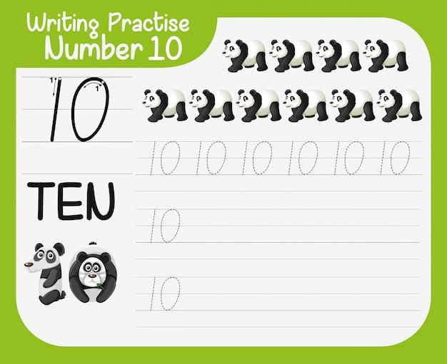 Come scrivere il numero dieci del foglio di lavoro