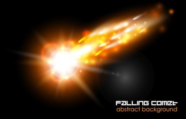 Cometa che cade, palla di fuoco o meteora su sfondo nero