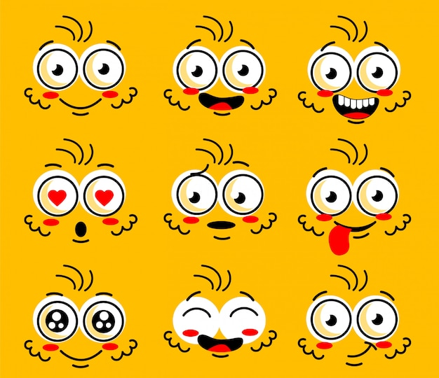 Comic doodle viso sorriso, arrabbiato, triste, tagliato