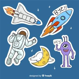 Comico di disegno del fumetto dell'autoadesivo dello spazio