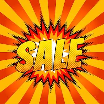 Comico luminoso con la parola di vendita per banner. bolla
