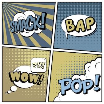Comico pop art stile sfondo bianco.