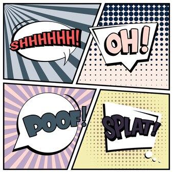 Comico stile pop art bianco con bolle di discorso.