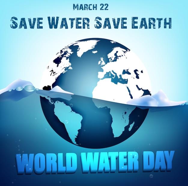Commemorazione della bandiera della giornata mondiale dell'acqua con globe sull'acqua
