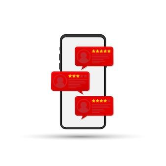 Commenta i discorsi sulla bolla di valutazione sull'illustrazione di vettore del telefono cellulare, le recensioni di smartphone in stile piatto stelle con buon e cattivo tasso