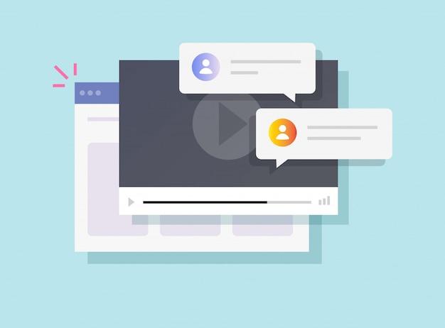 Commenti sulla chat del riproduttore video del sito web online o discussione del tutorial di formazione sul webinar