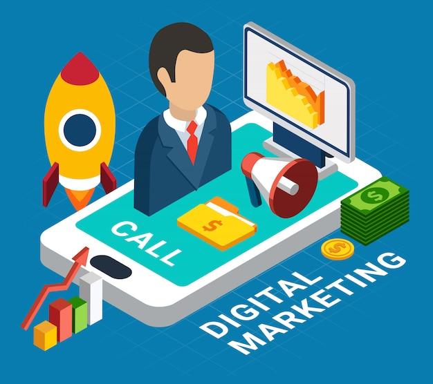 Commercializzazione mobile digitale variopinta isometrica sull'illustrazione blu 3d