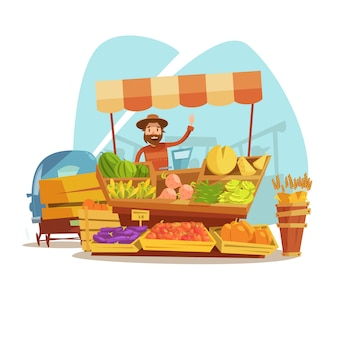 Commercializzi il concetto del fumetto con l'agricoltore che vende le verdure e l'illustrazione di vettore della frutta