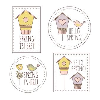 Commercio dell'illustrazione di vettore del fumetto delle etichette di primavera completato