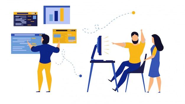 Commercio di dati di analisi delle persone. uomo e donna degli impiegati con il computer e la barra.