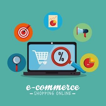 Commercio elettronico con computer portatile