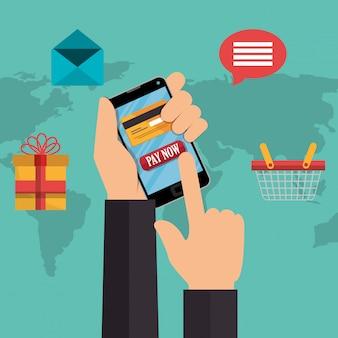 Commercio elettronico con smartphone