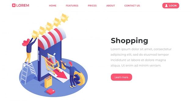 Commercio elettronico ed e-trading, negozio online di lancio di uomo d'affari