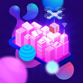 Commercio elettronico isometrico - concetto
