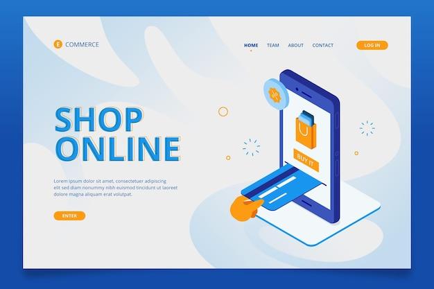 Commercio elettronico isometrico - landing page