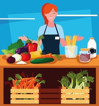Commessa con vetrina negozio di legno e verdure
